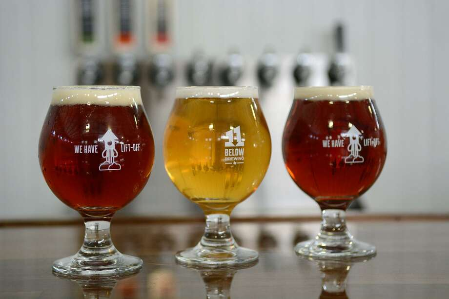 The 11 Below Brewing Company's starting lineup of beers. Photo: Jerry Baker, Freelance