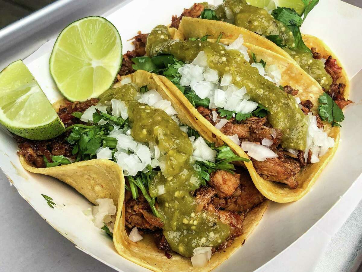 Pulled pork carnita tacos with corn tortillas, salsa verde, cilantro and lime at Eddie O's Texas Barbecue pop-up at D&T Drive Inn