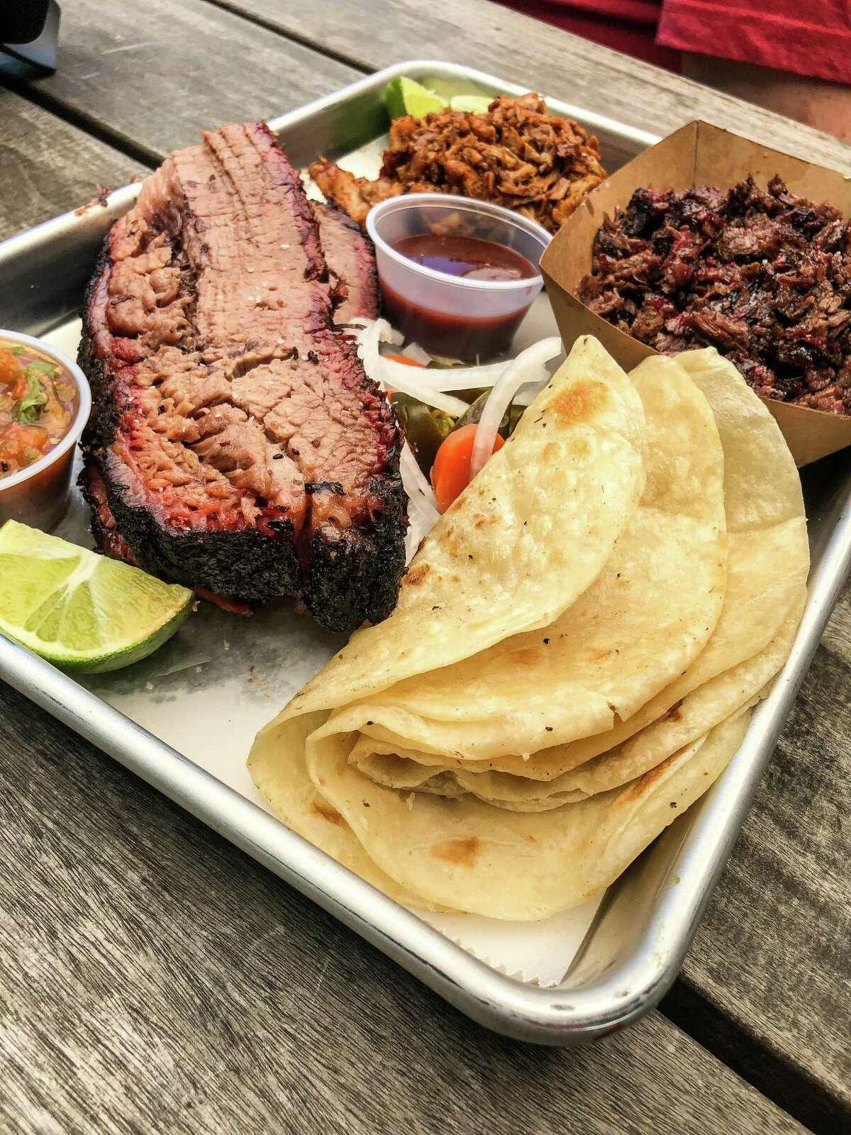 Brisket, barbacoa and flour tortillas at Eddie O's Texas Barbecue pop-up at D&T Drive Inn