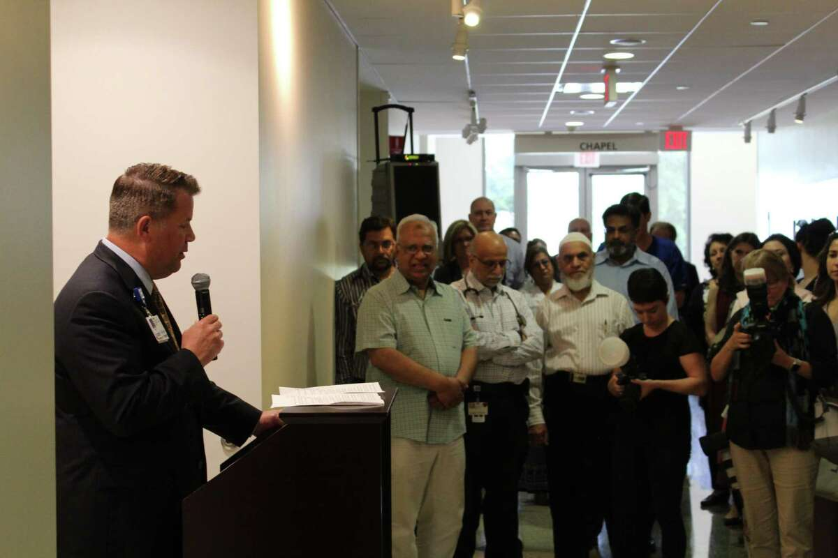 Keith Barber, CEO of Houston Methodist Willowbrook, opened the ceremony celebrating the opening of a new prayer room in the north pavilion of Houston Methodist Willowbrook.