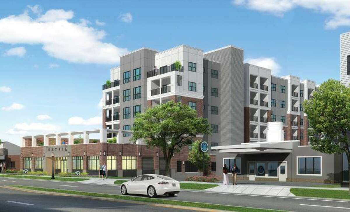 An artist's rendering of a recently approved 149-apartment complex, Brookview Commons II, in downtown Danbury. The view is from Main Street, looking north.