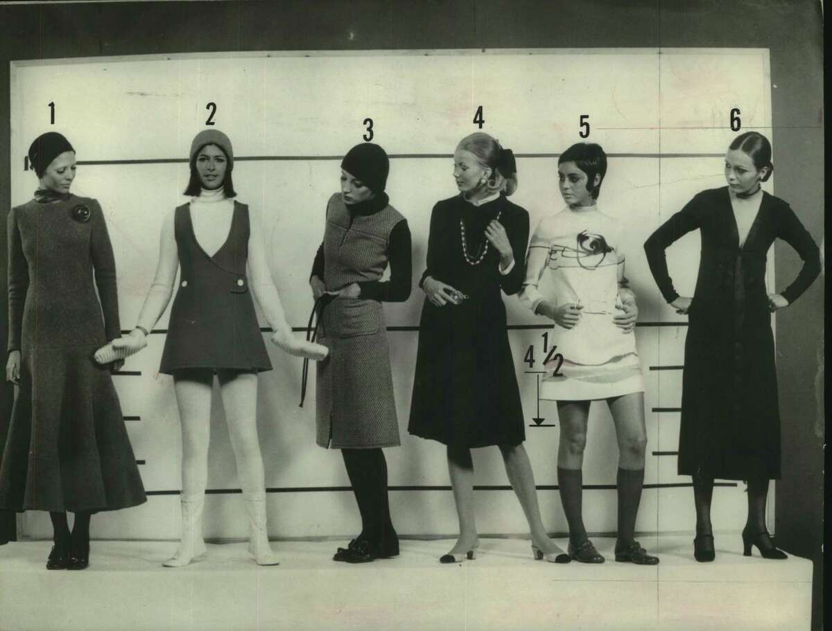 """Look familiar? This """"hemline"""" picture ran on page one of the so-called Women's Section, according to the caption for this undated photo. Paris designers apparently couldn't agree on hemlines as shown in these designs by, from left, Cardin, Courreges, Bohan, Chanel, Ungaro and St. Laurent."""