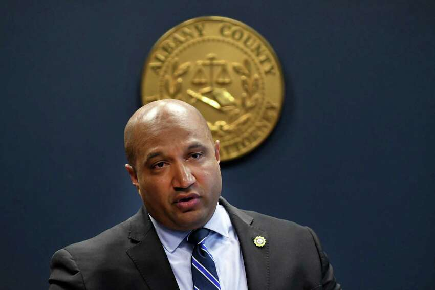 Albany County District Attorney David Soares on Thursday, Nov. 15, 2018, during a press conference at his offices in Albany, N.Y. (Will Waldron/Times Union)