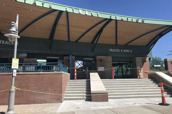 The stairway at the State Street rail station in New Haven has been repaired but is not yet open for use by commuters on Shore Line East or Metro-North.