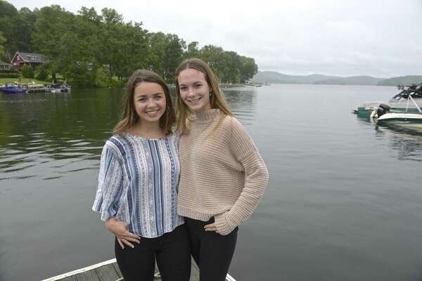 Bayley Storrier, left, and Alicia Nicoletti are Wooster School students who recently earned an award from DEEP for their efforts to try and save a Waterbury teacher who was killed in a Candlewood Lake boating accident last year. Thursday, June 13, 2019, in Brookfield, Conn.
