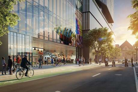 A rendering of Kaiser Permanente's new headquarters in Oakland, which is slated to open in 2023.