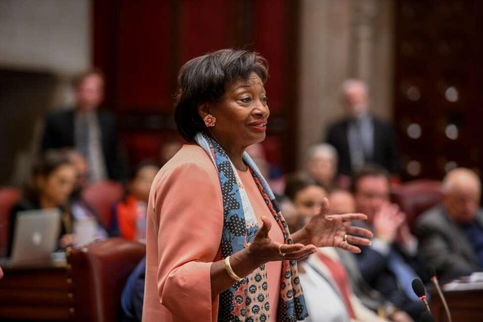 Senate Majority Leader Andrea Stewart-Cousins speaks on the floor of the Senate about comprehensive rent regulation legislation. (Courtesy New York State Senate)
