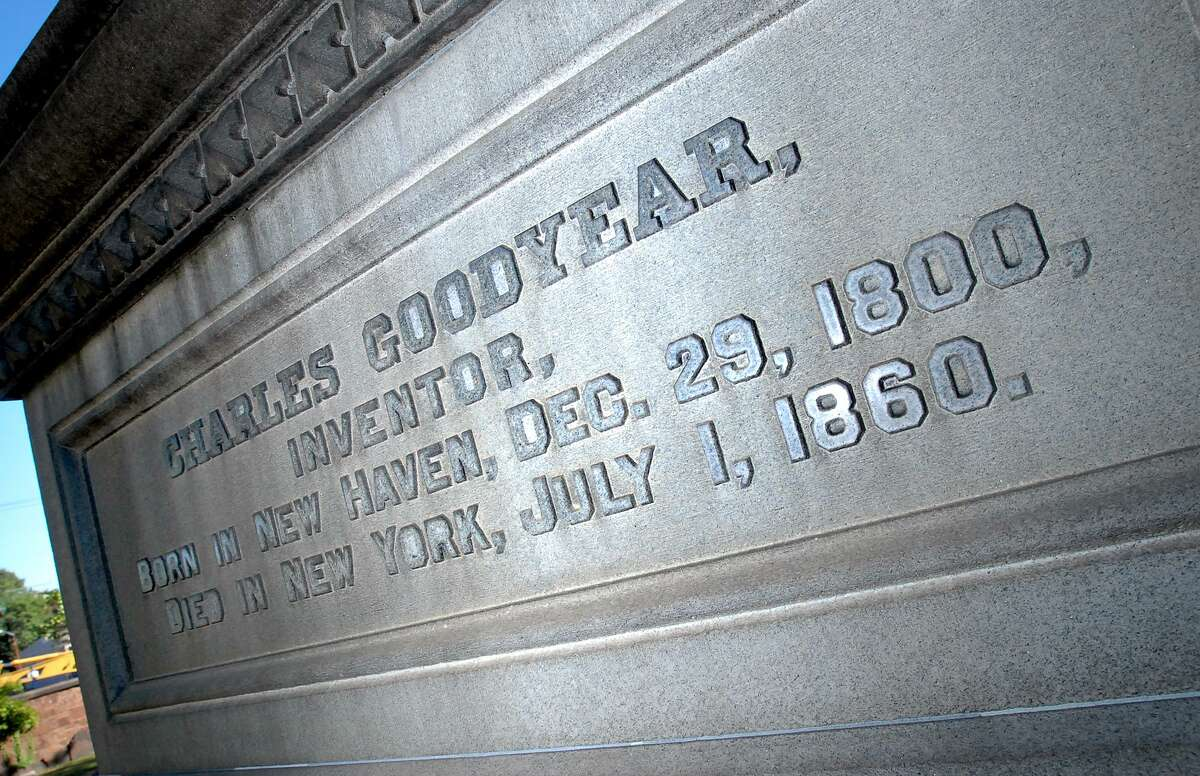 Many of New Haven's well-known residents are buried at the Grove Street Cemetery. In this file photo, the grave marker of Charles Goodyear.