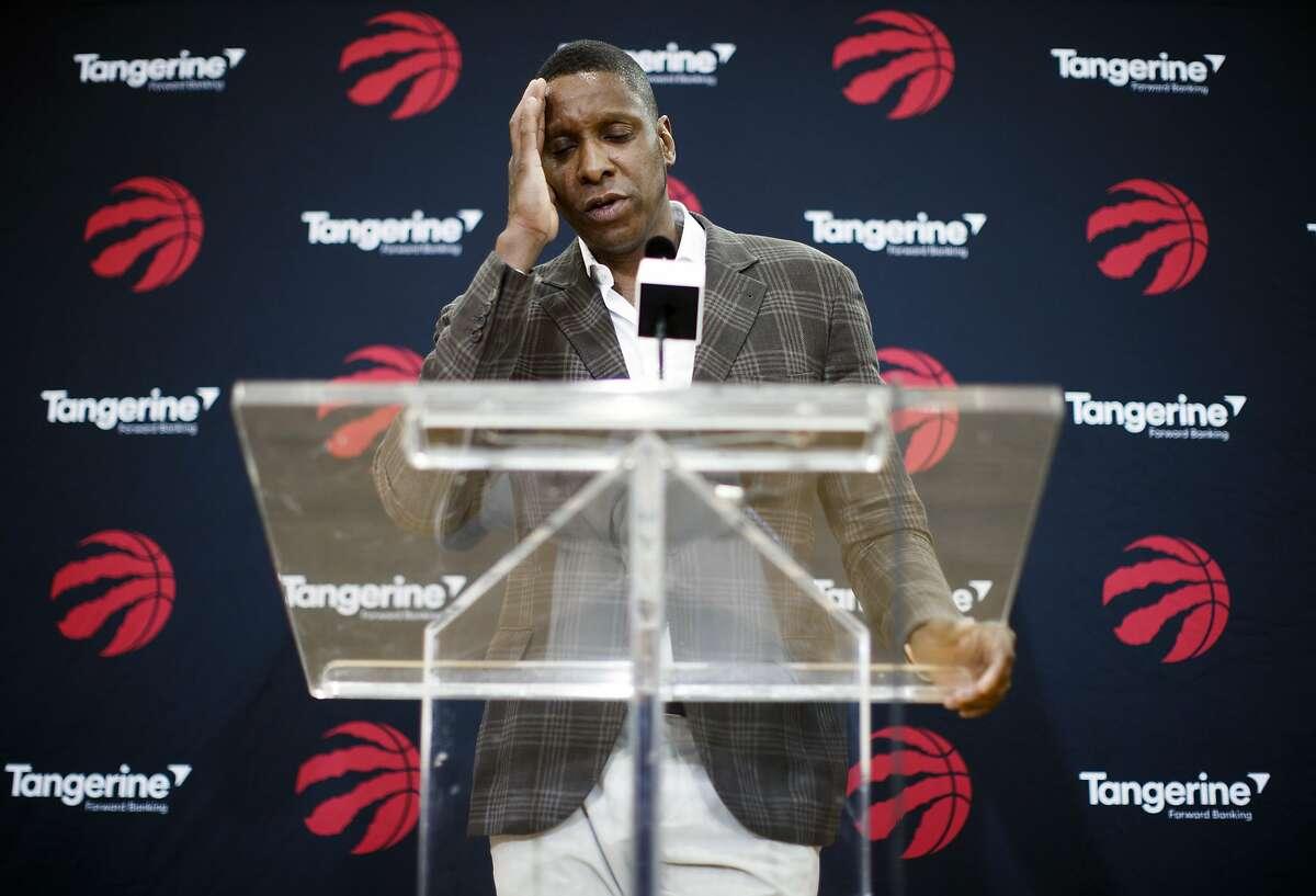 Toronto Raptors NBA basketball team president Masai Ujiri speaks about acquiring Kawhi Leonard in a trade at a media availability in Toronto, Friday, July 20, 2018. (Mark Blinch/The Canadian Press via AP)