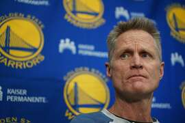 Warriors Head Coach Steve Kerr speaks at the End-of-Season press conference on Friday, June 14, 2019, in Oakland, CA.