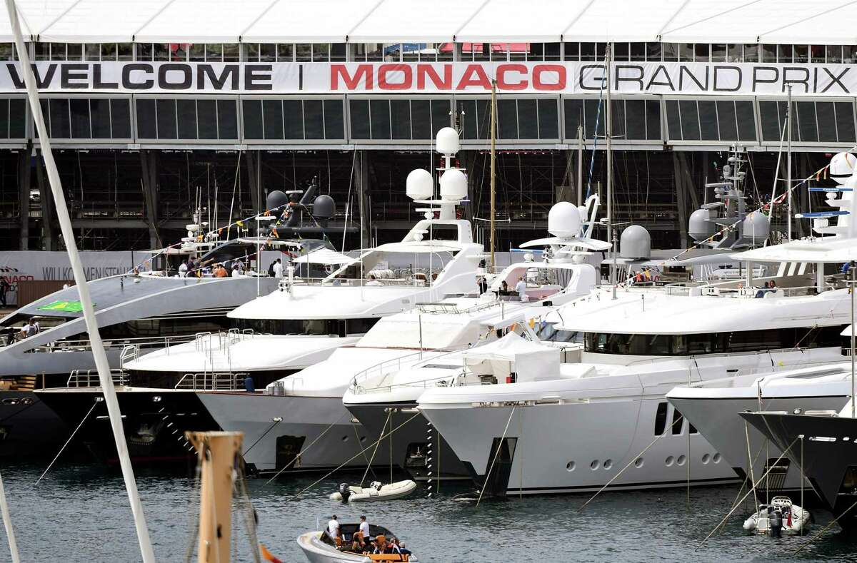 A banner reads 'Welcome Monaco Grand Prix' as yachts are moored at the port of Monaco on May 25, 2019 in Monaco, as Formula One practice and qualifying sessions take place ahead of the Monaco Formula 1 Grand Prix. (Photo by Boris HORVAT / AFP)BORIS HORVAT/AFP/Getty Images