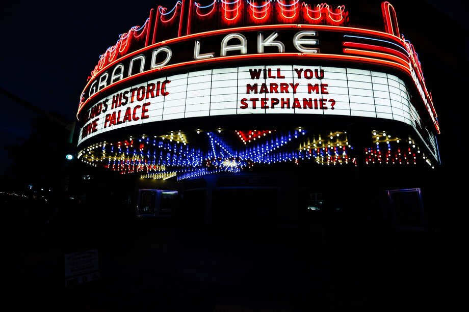 The Grand Lake Theatre marquee was used in a creative marriage proposal this week. Photo: Pauly Harper
