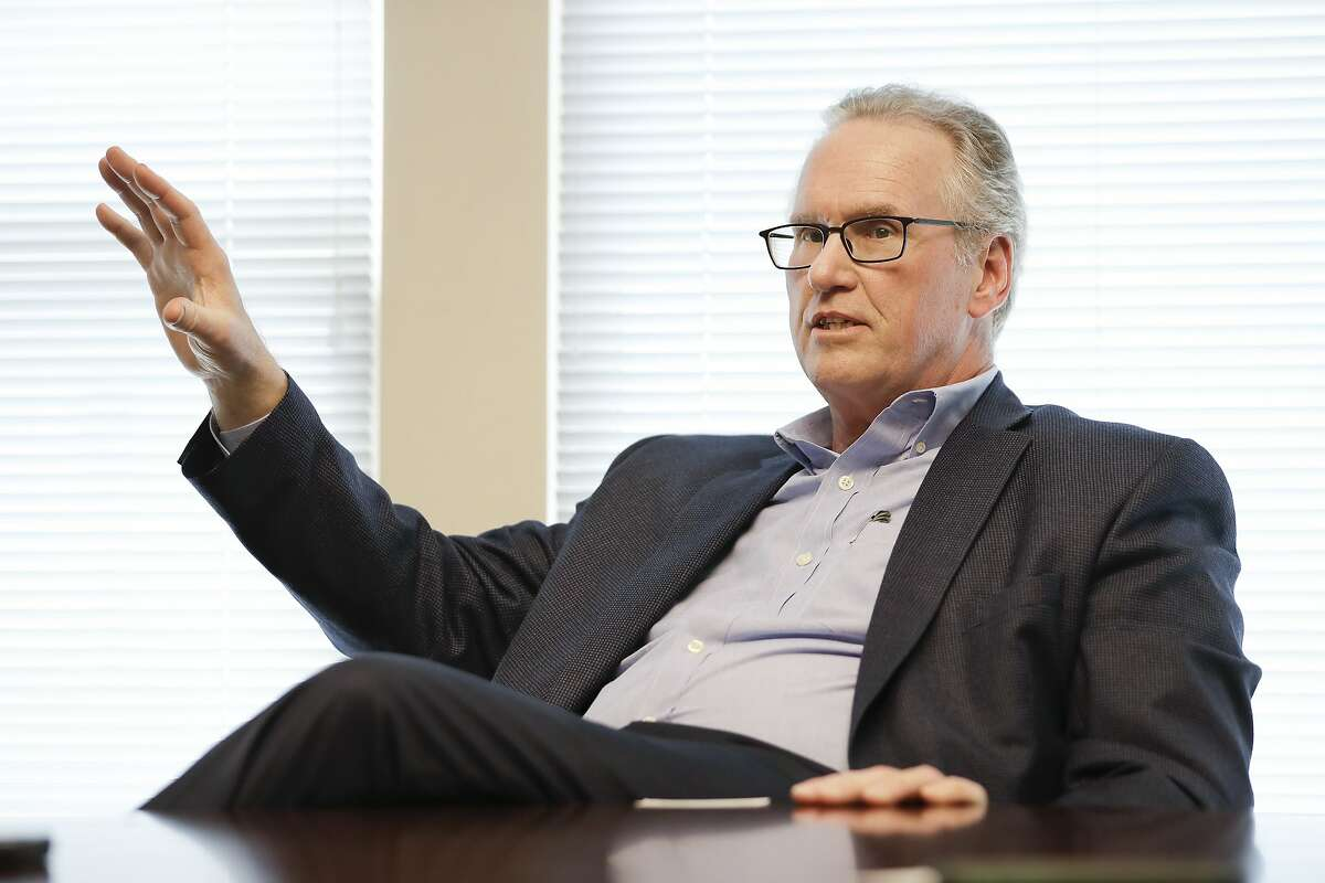 Tennessee Valley Authority CEO Bill Johnson answers questions during an interview with The Associated Press Tuesday, April 18, 2017, in Nashville, Tenn. The CEO of the biggest public utility in the country says the agency is not going to reopen coal-fired power plants under President Donald Trump. (AP Photo/Mark Humphrey)