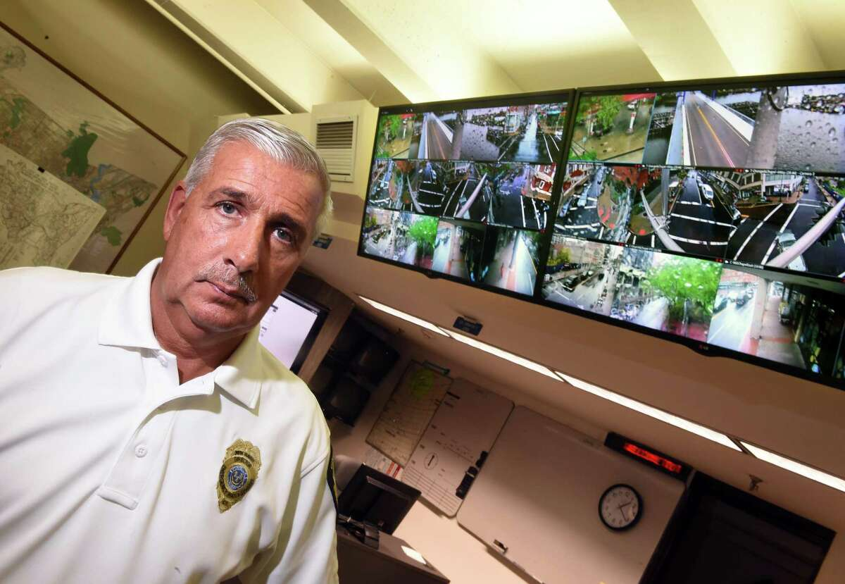 New Haven Emergency Management Director Rick Fontana in the Emergency Operations Center in New Haven with monitors of various camera views from across the city on June 13, 2019.