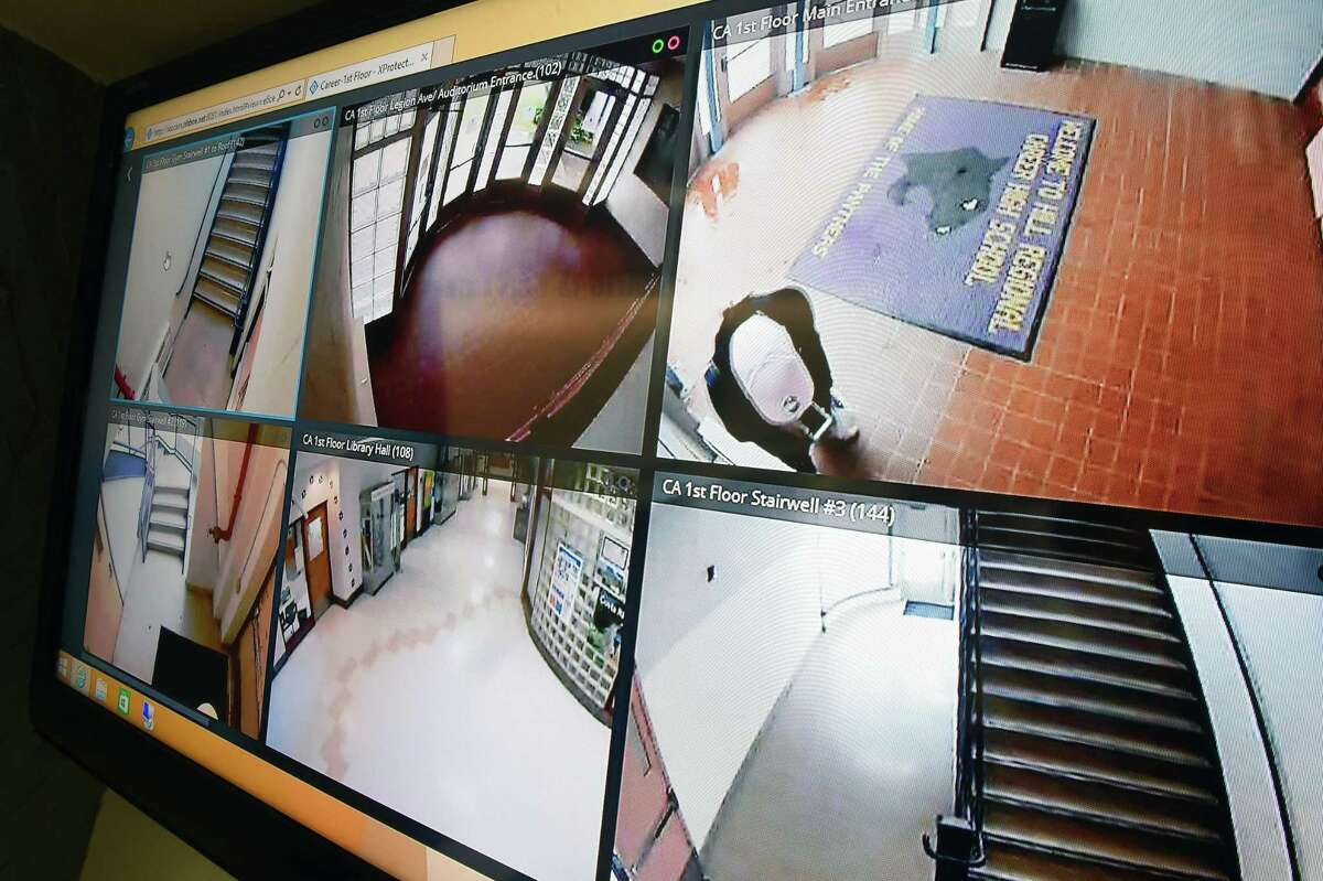Monitors of various camera views from Hill Regional Career High School in New Haven, seen in the Emergency Operations Center in New Haven on June 13, 2019.