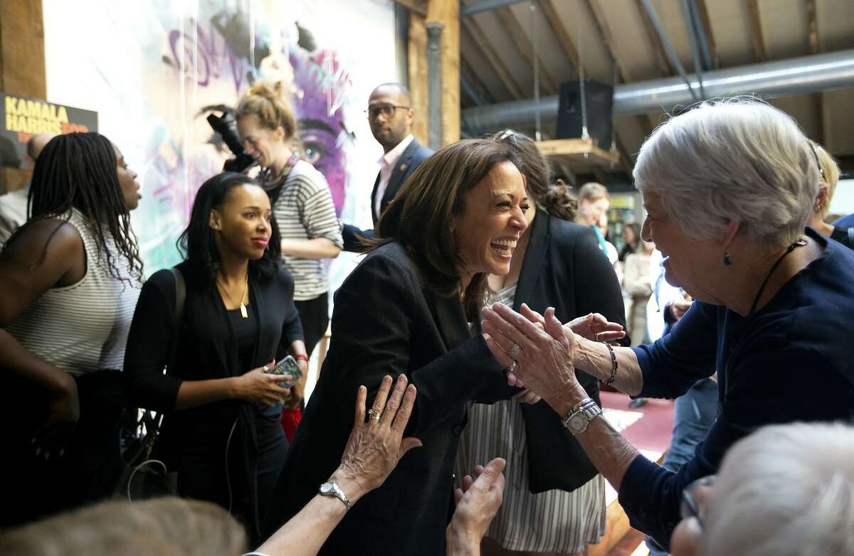 Democratic presidential candidate Kamala Harris speaks to supporters during a campaign stop at Convivium Urban Farmstead in Dubuque, Iowa on Monday, June 10, 2019. (Eileen Meslar/Telegraph Herald via AP)