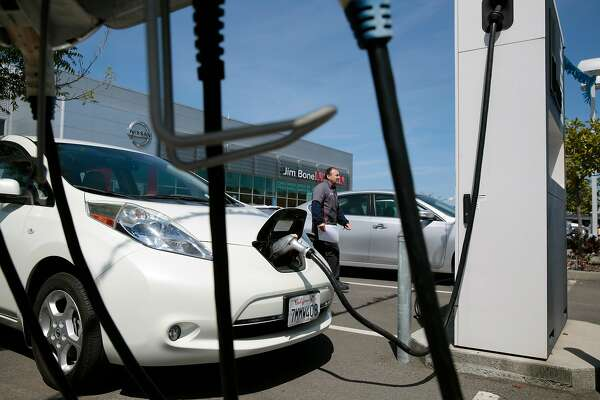 An older model Nissan LEAF is charged at the Jim Bone Nissan dealership in Santa Rosa, California, Thursday, May 3, 2018. Ramin Rahimian/Special to The Chronicle