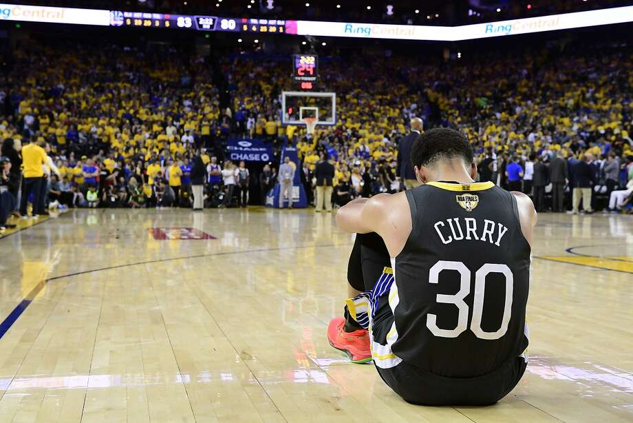 Golden State Warriors guard Stephen Curry reacts after teammate Klay Thompson was injured during the second half against the Toronto Raptors in Game 6 of basketball's NBA Finals, Thursday, June 13, 2019, in Oakland, Calif. (Frank Gunn/The Canadian Press via AP) Photo: Frank Gunn, Associated Press
