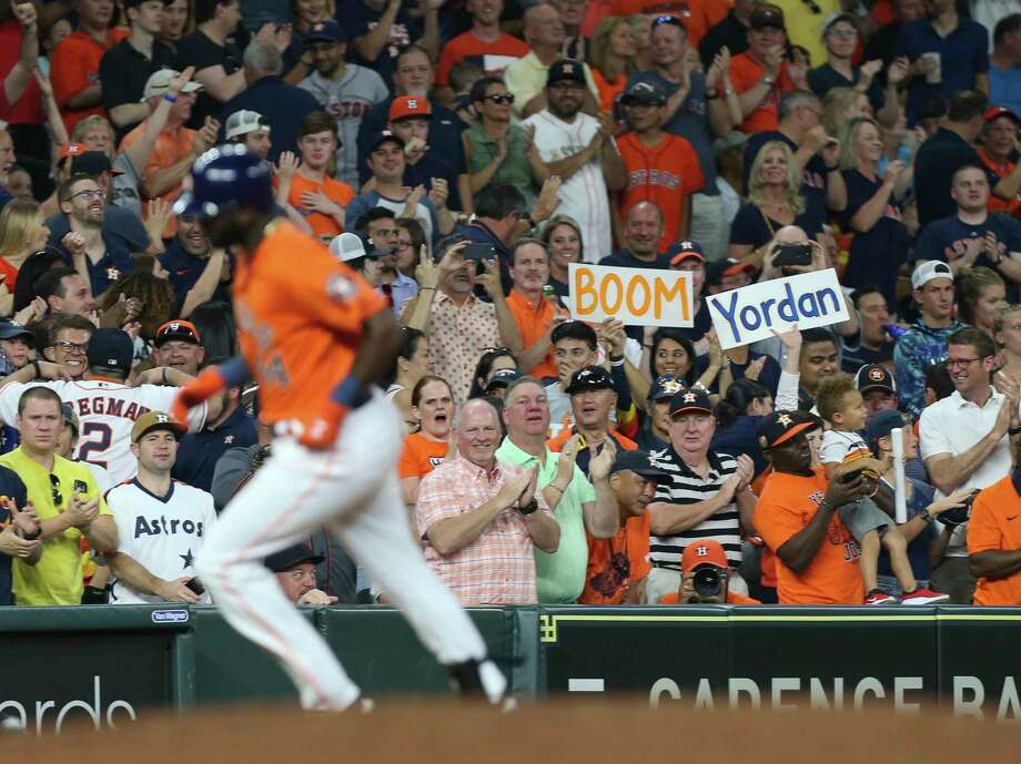 PHOTOS: More from the Astros' 15-2 win over the Blue Jays Houston Astros fans celebrate left fielder Yordan Alvarez's two-run home run during the bottom fourth inning of the MLB game against the Toronto Blue Jays at Minute Maid Park on Friday, June 14, 2019, in Houston. Photo: Yi-Chin Lee, Staff Photographer / © 2019 Houston Chronicle