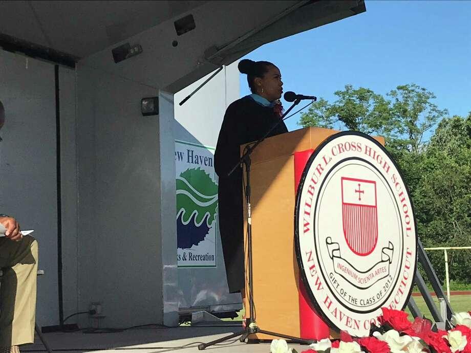 Wilbur Cross High School Edith Johnson at the school's graduation ceremony on June 14, 2019. Photo: Brian Zahn/Hearst Connecticut Media