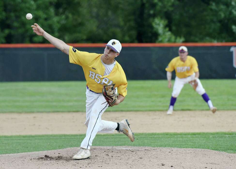 Ballston Spa pitcher Jake Manderson winds up for a pitch during the Class A baseball state semifinal against Sayville on Friday, June 14, 2019 at Union Endicott High School in Endicott, NY. (Phoebe Sheehan/Times Union)