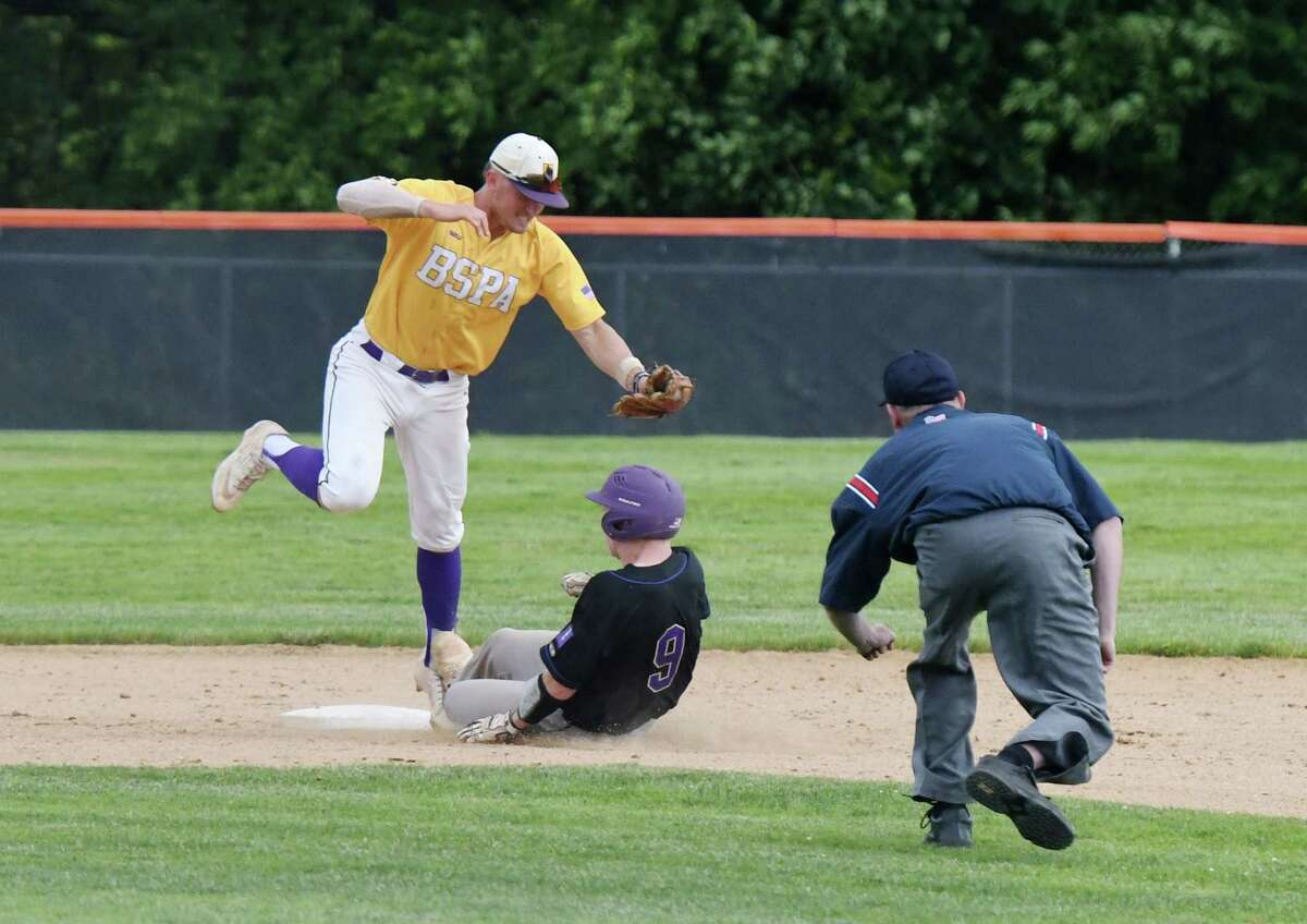 Ballston Spa's Luke Gold tags out Sayville's Mike Argenziano at second during the Class A baseball state semifinal against Sayville on Friday, June 14, 2019 at Union Endicott High School in Endicott, NY. (Phoebe Sheehan/Times Union)