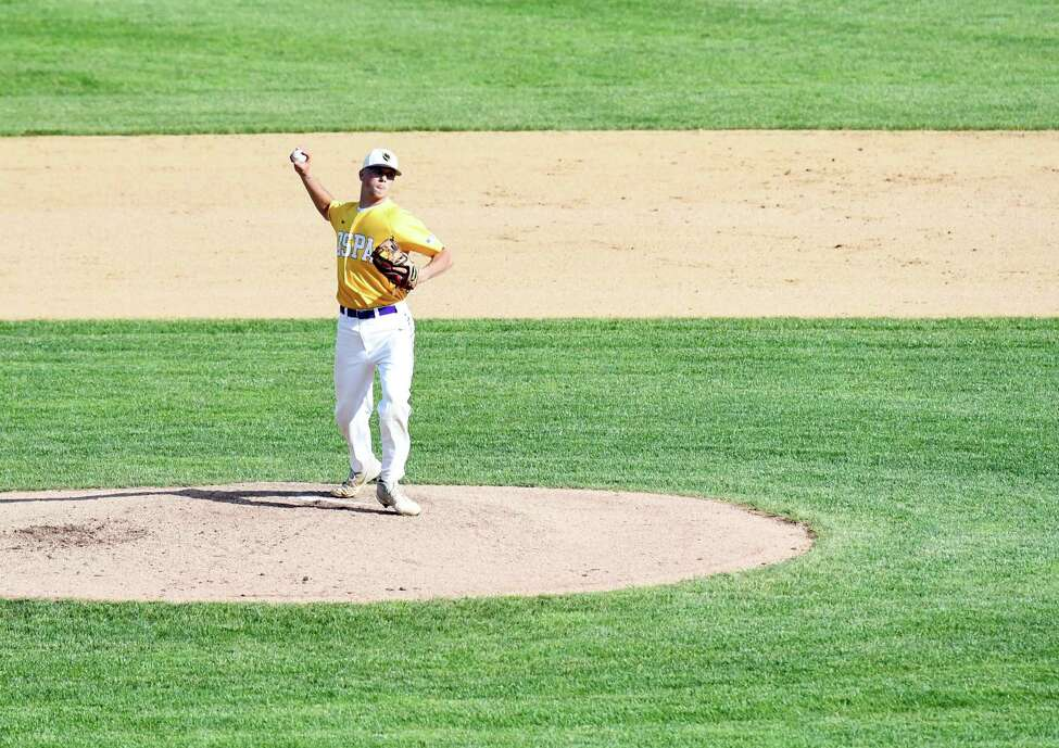 Ballston Spa pitcher Jake Manderson throws the ball to first during the Class A baseball state semifinal against Sayville on Friday, June 14, 2019 at Union Endicott High School in Endicott, NY. (Phoebe Sheehan/Times Union)