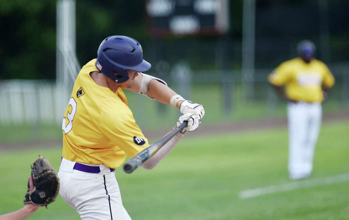 Ballston Spa's Luke Gold hits a homerun during the Class A baseball state semifinal against Sayville on Friday, June 14, 2019 at Union Endicott High School in Endicott, NY. (Phoebe Sheehan/Times Union)