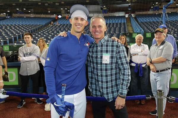 Craig Biggio made it to Toronto for Cavan's MLB debut. So did Patty (standing in background).