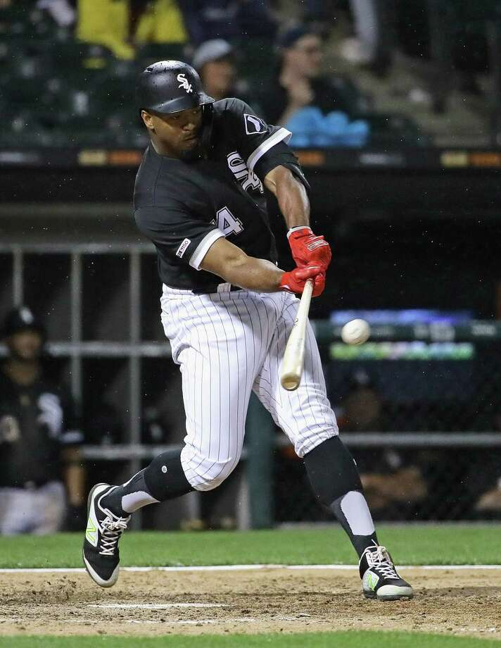 CHICAGO, ILLINOIS - JUNE 14: Eloy Jimenez #74 of the Chicago White Sox hits his second 3 run home run of the game in the 6th inning against the New York Yankees at Guaranteed Rate Field on June 14, 2019 in Chicago, Illinois. (Photo by Jonathan Daniel/Getty Images) Photo: Jonathan Daniel / 2019 Getty Images