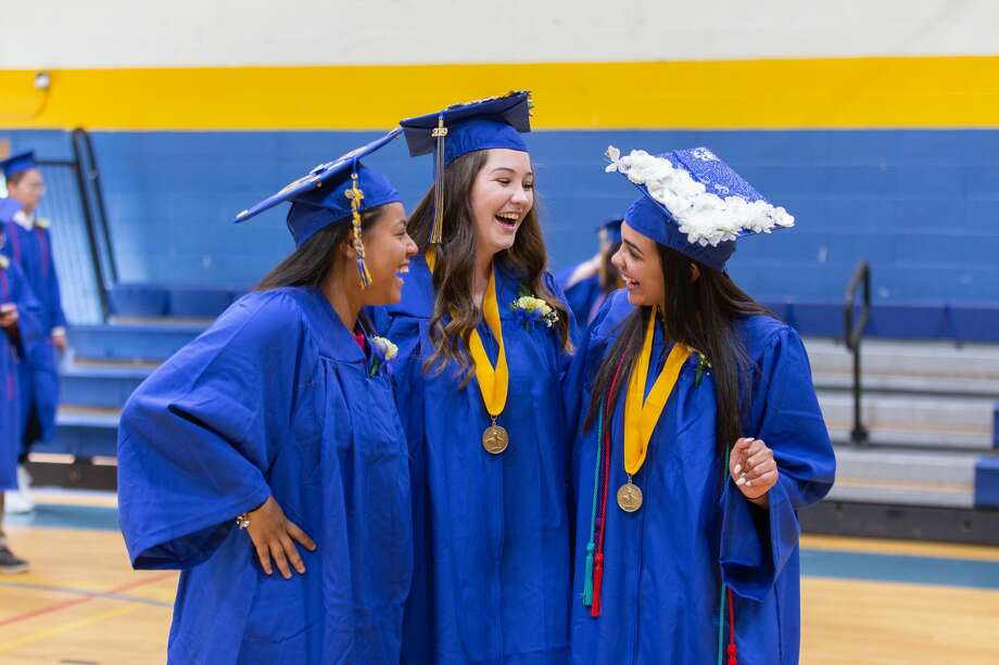 Students at TheGilbertSchool in Winsted celebrated the end of their high school careers Friday night in the school auditorium. Parents and friends joined the celebration, which included speeches, music, laughter and tears. Photo: Lisa Nichols Hearst CT Media