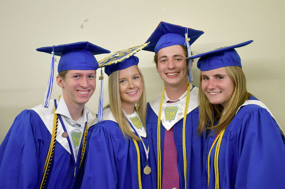 Lewis S. Mills students celebrated the end of their high school years Friday, June 14, 2019, with speeches, music and plenty of laugher and tears. The Class of 2019 held the graduation at the Warner Theatre in Torrington Photo: Lara Green- Kazlauskas/ Hearst Media