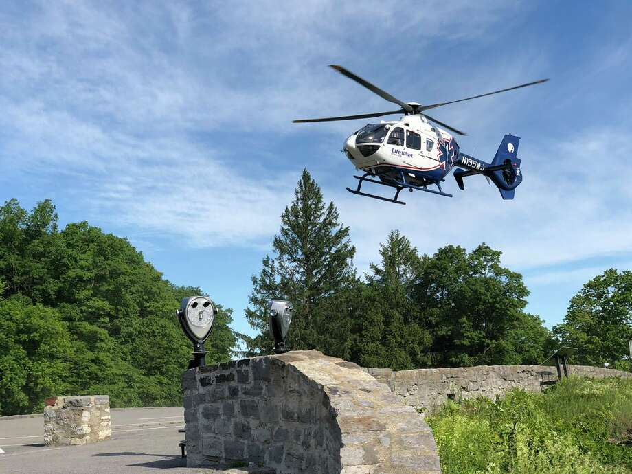 A helicopter responds to a rescue at Thacher Park Saturday June 15, 2019. Photo: Albany County Sheriff Craig Apple (Twitter)