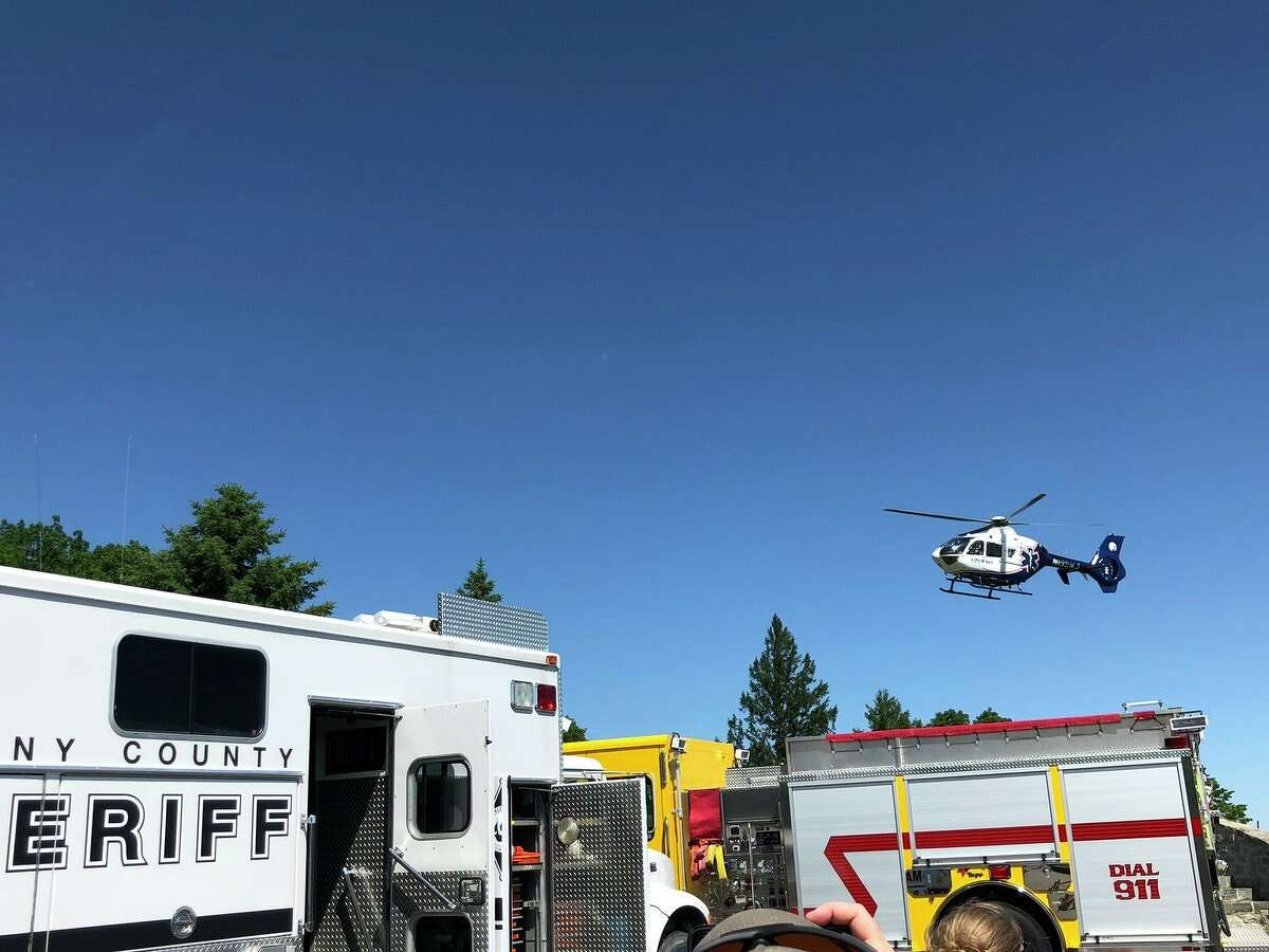 A helicopter responds to a rescue at Thacher Park Saturday, June 15, 2019.