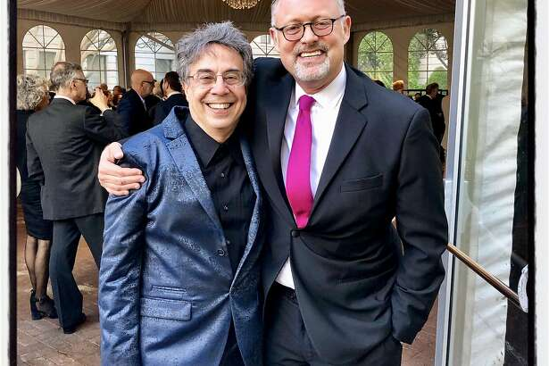 """Berkeley Rep artistic director Tony Taccone (left) with Jonathan Moscone at the """"Ovation"""" gala. June 7, 2019."""