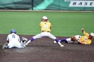 Ballston Spa second baseman Evan Fox catches the ball to throw it to short stop Luke Gold for the out during the Class A baseball state final against Maine Endwell on Saturday, June 15, 2019 at Binghamton University in Binghamton, NY. (Phoebe Sheehan/Times Union)