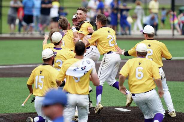 The Ballston Spa Scotties celebrate winning the Class A baseball state final against Maine Endwell on Saturday, June 15, 2019 at Binghamton University in Binghamton, NY. (Phoebe Sheehan/Times Union)