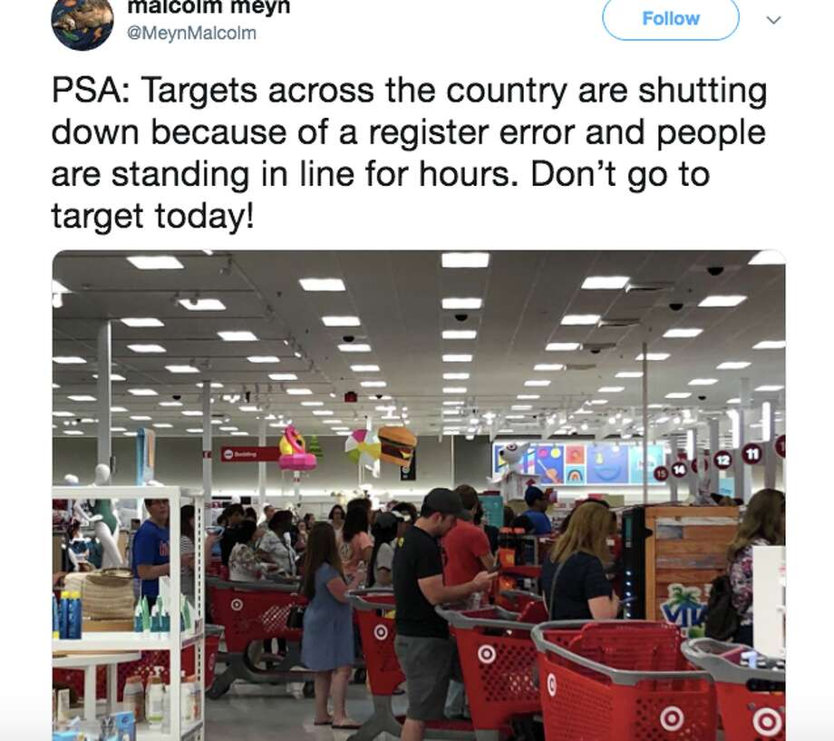 "A ""systems issue"" prevented customers from checking out at Target stores nationwide. Photo: Twitter"