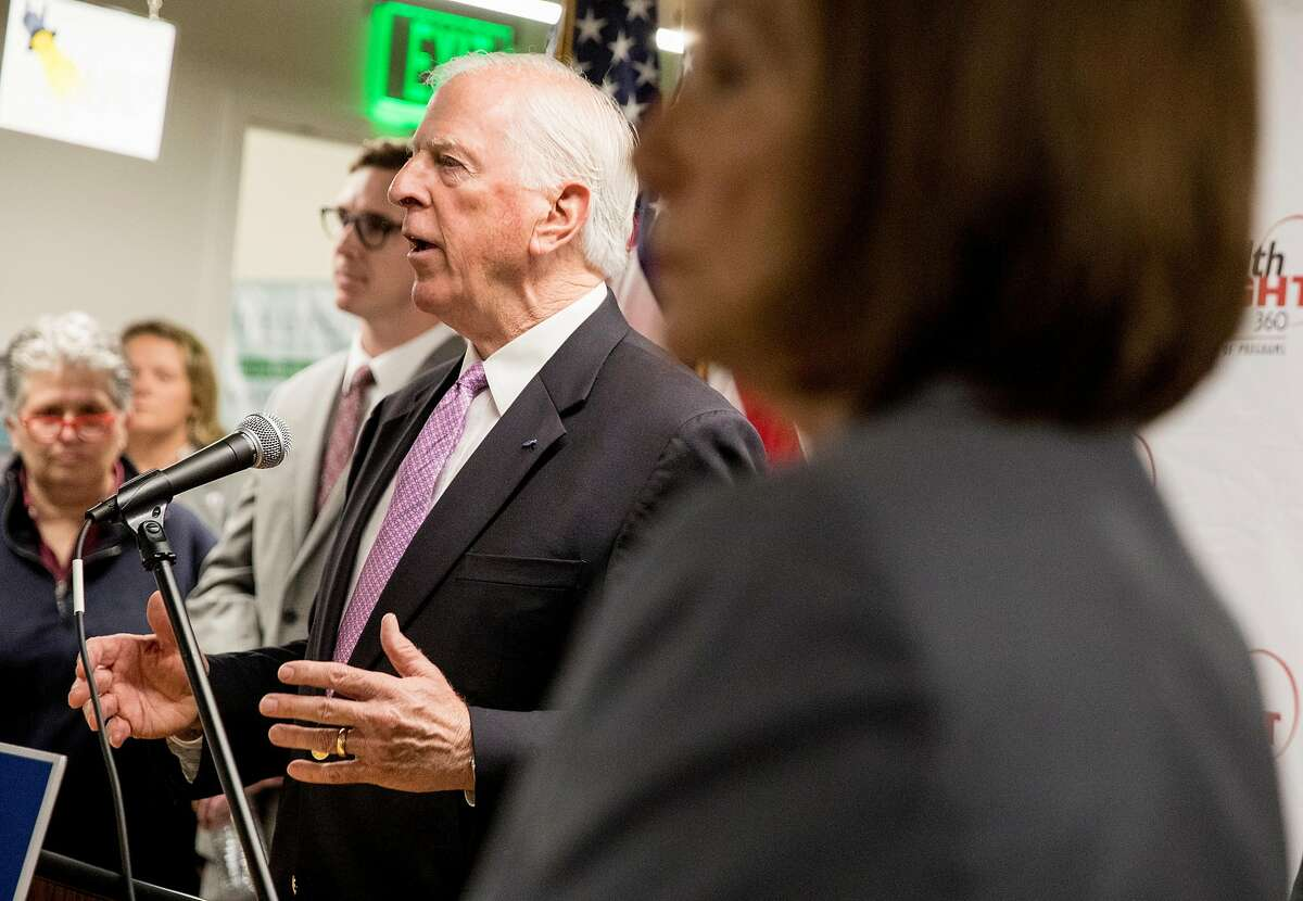 Rep. Mike Thompson, D-St. Helena, speaks in San Francisco in 2019. Thompson is carrying a bill that would extend background checks to gun purchasers in private sales and at gun shows.