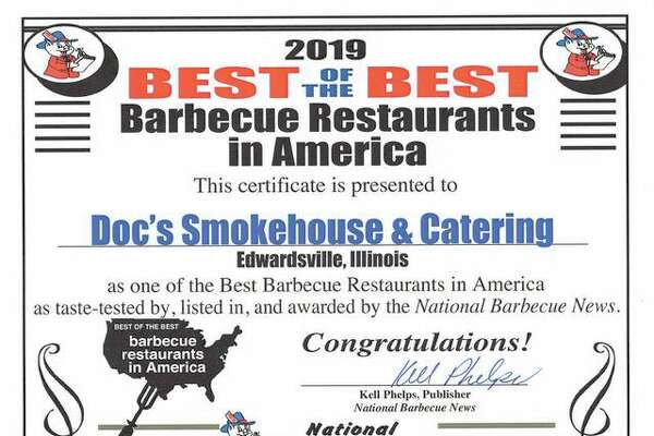 Doc's Smokehouse was awarded National Barbeque News' Best of the Best barbeque in America
