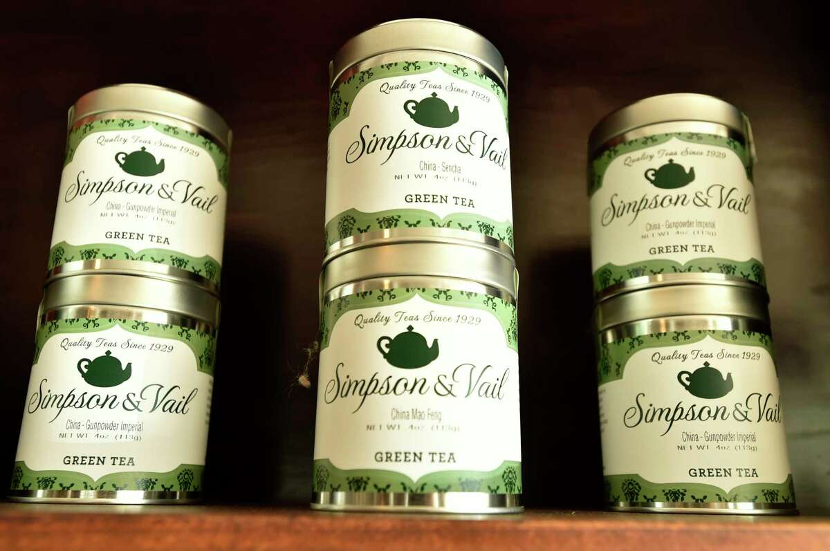 Old Saybrook, Connecticut - Saturday, June 15, 2019: Simpson and Vail specialty tea make in Brookfield, Connecticut offered for sale at the Caffe Marche in Old Saybrook, located in the historic James Pharmacy Bed & Breakfast and Gelateria, whose baristas offer authentic Italian coffee, espressos, capuccinos, lattes, gourmet Connecticut coffees and cold brews, teas, local pastry and other repasts. Gelato is made fresh daily with natural italian products and fresh Farmer's Cow milk from Connecticut. Juices, smoothies, protein shakes, milk shakes and floats are also something to experience.