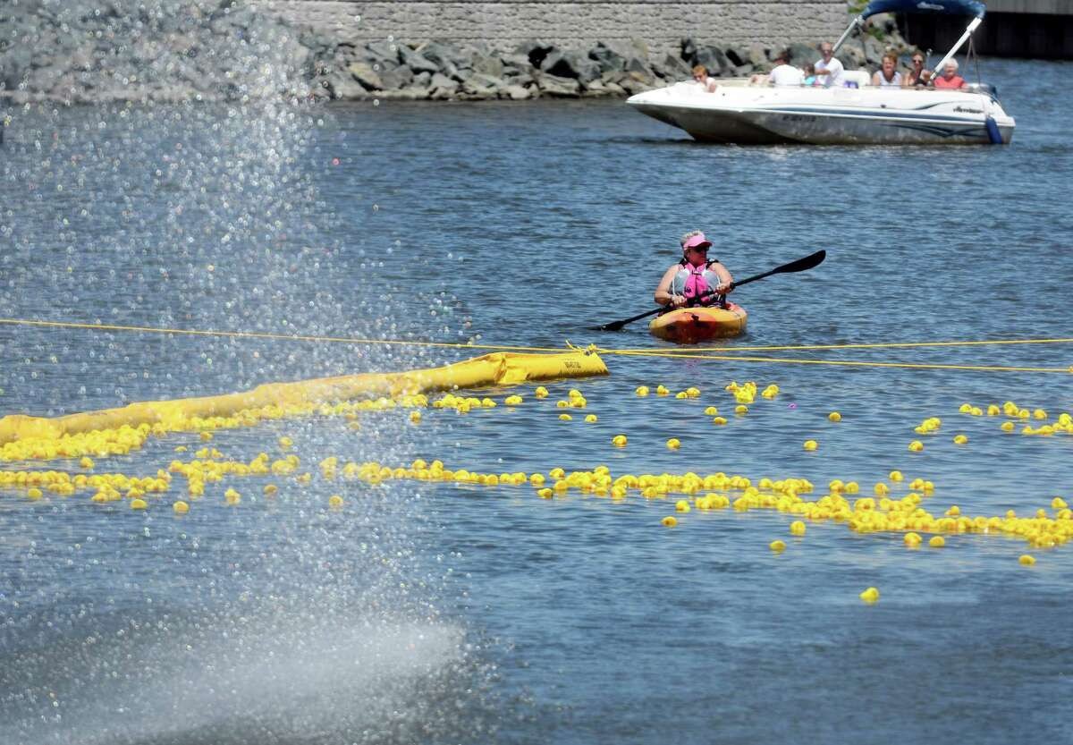 Rubber ducks approached the finish line at the Fourth Annual Duck Derby for Autism and Guinness World Record Attempt on Saturday, June 15, 2019 at Mohawk Harbor in Schenectady, N.Y. 5000 ducks were