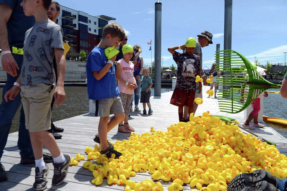 Attendees watch as rubber ducks are retrieved from the Mohawk Harbor after the Fourth Annual Duck Derby for Autism and Guinness World Record Attempt on Saturday, June 15, 2019, in Schenectady, N.Y. 5000 ducks were