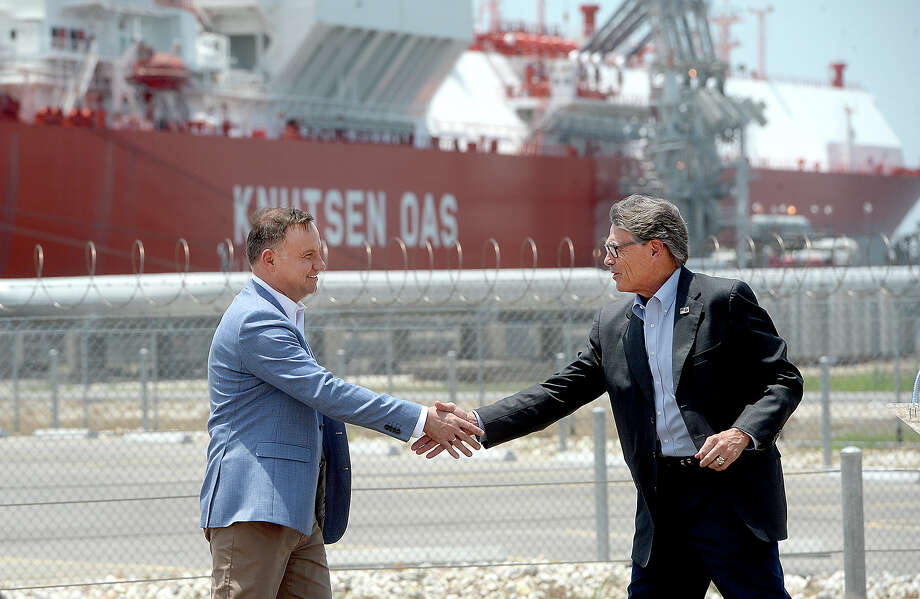 Polish President Andrzej Duda and U. S. Secretary of Energy Rick Perry shake hands following their joint press conference at Cheniere's Sabine Pass LNG facility, in Cameron Parish, LA, Friday. Photo taken Friday, June 14, 2019 Kim Brent/The Enterprise Photo: Kim Brent/The Enterprise