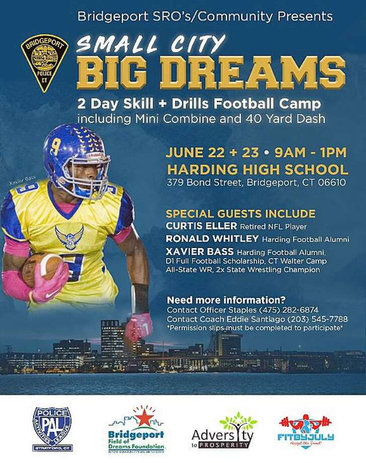 The camp will be June 22 and June 23, 2019, at Harding High School, 379 Bond St. in Bridgeport, Conn., from 9 a.m. to 1 p.m. each day. Those who attend will learn skills and drills, including participating in a 40-yard dash. Photo: Contributed Photo / Bridgeport Police Department