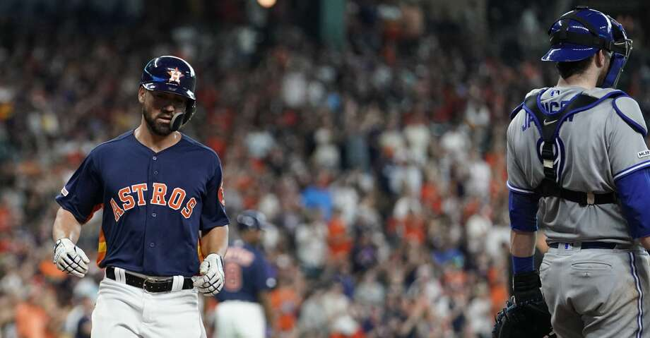 Houston Astros Jack Mayfield crosses the plate on a double hit by Myles Straw against the Totonto Blue Jays during the fourth inning at Minute Maid Park Saturday, June 15, 2019, in Houston. Photo: Melissa Phillip/Staff Photographer