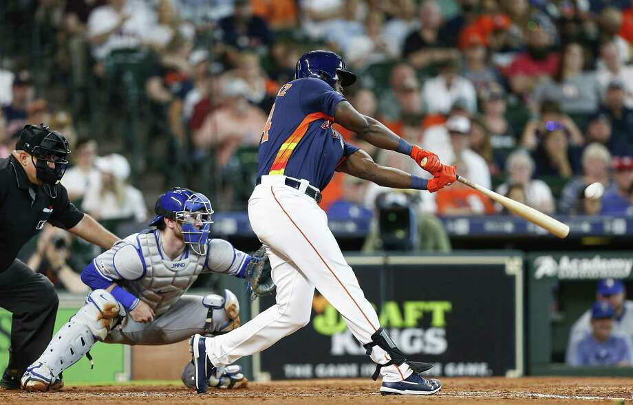 Yordan Alvarez (44) of the Houston Astros hits a home run in the third inning against the Toronto Blue Jays at Minute Maid Park on June 15, 2019 in Houston, Texas. Photo: Bob Levey, Stringer / Getty Images / 2019 Getty Images