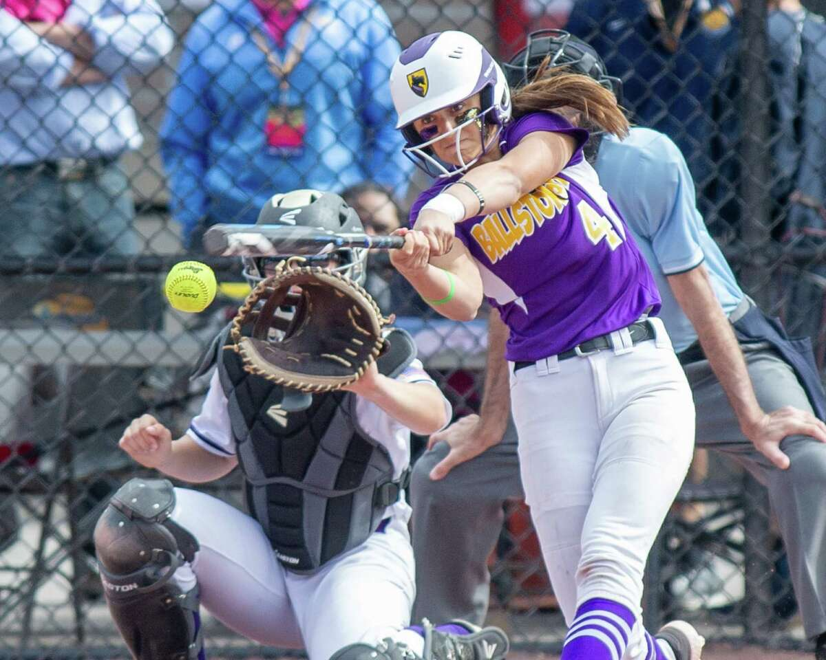 Ballston Spa shortstop Ana Gold takes a cut during the Class A semifinals against Sayville at Moreau Recreational Park on Saturday, June 15, 2019 (Jim Franco/Special to the Times Union.)