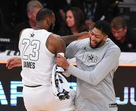 FILE - JUNE 15: The Los Angeles Lakers have traded Lonzo Ball, Brandon Ingram, Josh Hart and three first-round picks to the New Orleans Pelicans for star Anthony Davis on June 15, 2019. LOS ANGELES, CA - FEBRUARY 18:  LeBron James #23 and Anthony Davis #23 of Team LeBron celebrate after winning the NBA All-Star Game 2018 at Staples Center on February 18, 2018 in Los Angeles, California.  (Photo by Jayne Kamin-Oncea/Getty Images)