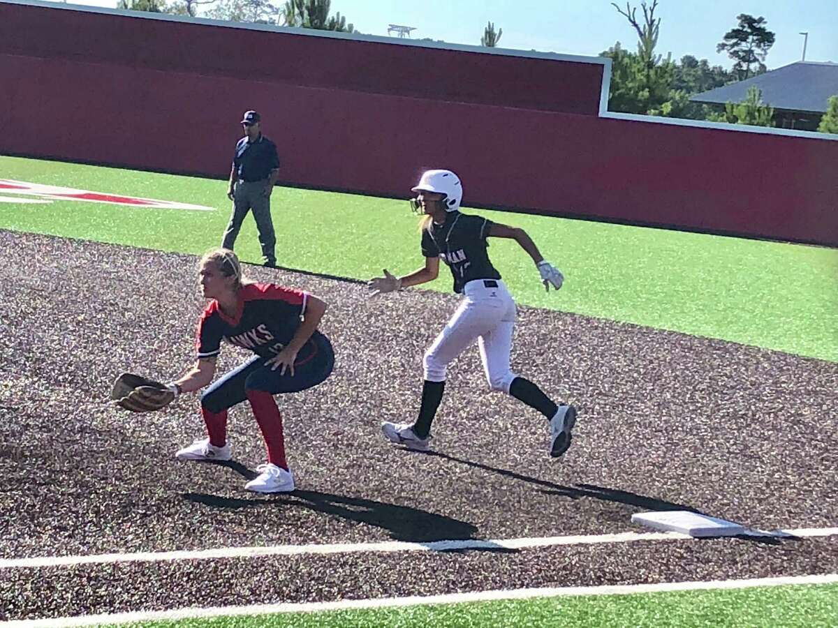 Hargrave's Dez Cardenas takes a lead off first after walking in the top of the third inning in the Southeast Texas Coaches Association CHRISTUS All-Star Classic softball game on June 13 in Crosby.